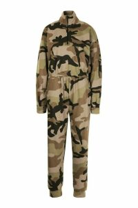 Womens Camo Hoodie And Jogger Set - Green - 8, Green
