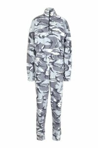 Womens Camo Hoodie And Jogger Set - grey - 8, Grey