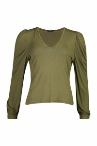 Womens Puff Sleeve V Neck Swing Top - Green - 16, Green