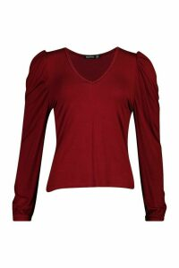 Womens Puff Sleeve V Neck Swing Top - Red - 6, Red