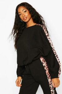Womens Colour Block Leopard Oversized jumper - black - 16, Black