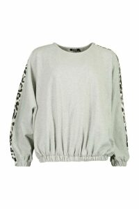 Womens Colour Block Leopard Oversized jumper - grey - 16, Grey