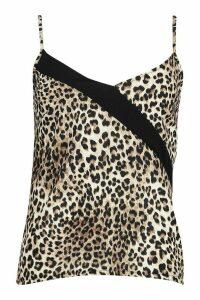 Womens Leopard Colour Block Contrast Cami - black - 16, Black