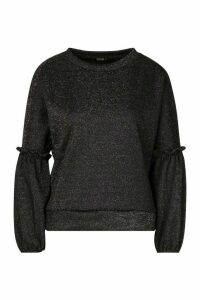 Womens Ruffle Puff Sleeve Sweat - black - M, Black