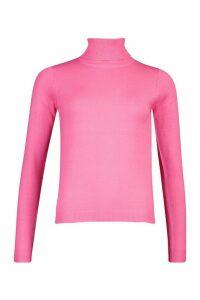 Womens Roll Neck Jumper - Pink - M, Pink