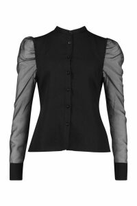 Womens Organza Puffed Sleeve Shirt - black - 14, Black