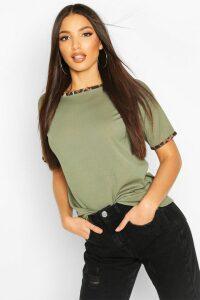 Womens Rib Leopard Ringer T-Shirt - Green - 16, Green