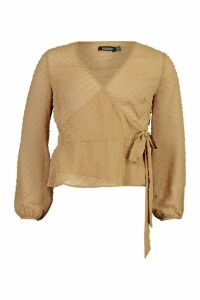 Womens Wrap Over Dobby Mesh Blouse - Beige - 12, Beige