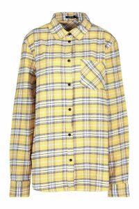 Womens Oversized Boyfriend Check Shirt - yellow - S, Yellow