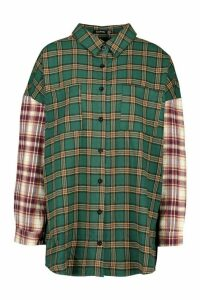 Womens Mixed Check Contrast Sleeve Oversized Shirt - green - 16, Green