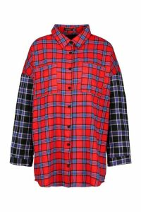 Womens Mixed Check Contrast Sleeve Oversized Shirt - red - 14, Red