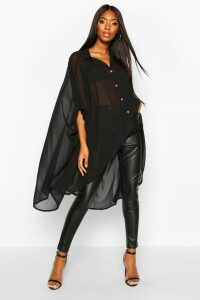 Womens Woven Oversized Maxi Shirt - black - 16, Black