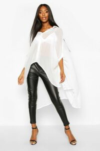 Womens Woven Oversized Maxi Shirt - white - 10, White