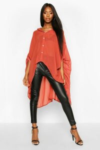 Womens Woven Oversized Maxi Shirt - Orange - 8, Orange