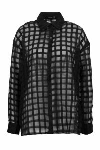 Womens Check Organza Button Through Shirt - black - 14, Black