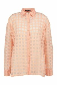 Womens Check Organza Button Through Shirt - pink - 8, Pink