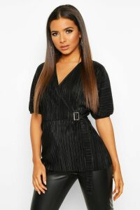 Womens Pleated Wrap Front Tie Waist Top - Black - 16, Black