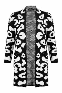 Womens Leopard Knitted Cardigan - black - S, Black