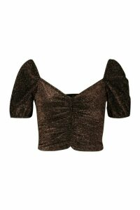Womens Glitter Ruched Puff Sleeve Top - Brown - 8, Brown