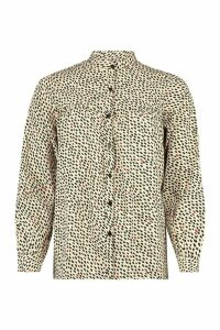 Womens Grandad Collar Printed Shirt - beige - 12, Beige
