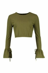 Womens Crew Neck Chunky Rib Top With Tie Detail Cuff - green - 12, Green