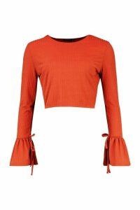Womens Crew Neck Chunky Rib Top With Tie Detail Cuff - orange - 14, Orange