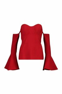 Womens Premium Bandage Off Shoulder Flared Sleeve Top - M, Red