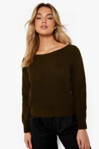 Womens Crop Slash Neck Fisherman Jumper - Green - M/L, Green