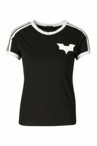 Womens Jersey T-Shirt With Contrast Stripes And Print - black - 14, Black