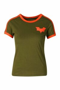 Womens Jersey T-Shirt With Contrast Stripes And Print - green - 16, Green
