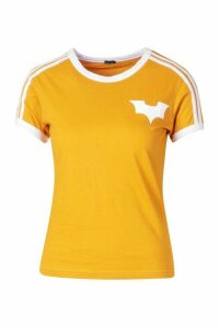 Womens Jersey T-Shirt With Contrast Stripes And Print - yellow - 10, Yellow