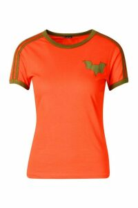 Womens Jersey T-Shirt With Contrast Stripes And Print - orange - 16, Orange