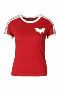 Womens Jersey T-Shirt With Contrast Stripes And Print - red - 16, Red
