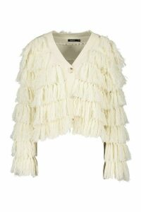 Womens Tassel Fringed Cardigan - white - M, White