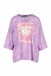 Womens Recycled Lunar Solar Graphic T-Shirt - purple - 14, Purple