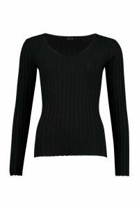Womens V Neck Rib Knit Top - black - M, Black