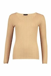 Womens V Neck Rib Knit Top - beige - M, Beige
