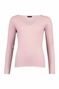 Womens V Neck Rib Knit Top - pink - M, Pink