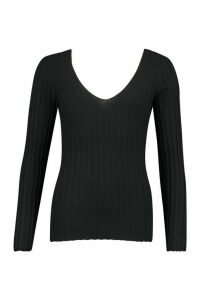 Womens V Neck Ribbed Knit Top - black - M, Black