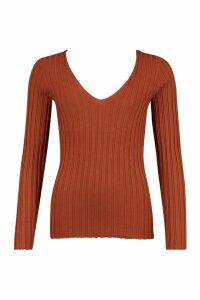 Womens V Neck Ribbed Knit Top - Brown - L, Brown