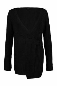 Womens Wrap D Ring Belted Cardigan - black - L, Black