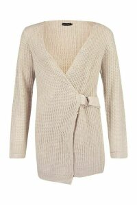 Womens Wrap D Ring Belted Cardigan - beige - L, Beige