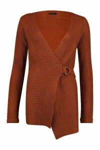 Womens Wrap D Ring Belted Cardigan - brown - M, Brown
