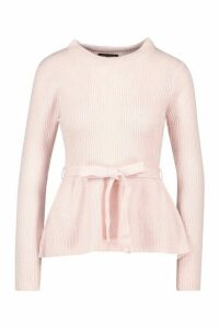 Womens Tie Front Ribbed Knit Jumper - pink - M, Pink