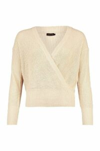 Womens Wrap Front Knitted Crop Jumper - Beige - M, Beige