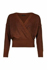 Womens Wrap Front Knitted Crop Jumper - brown - M, Brown