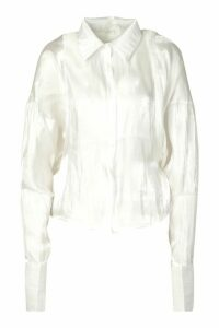 Womens Balloon Oversized Shimmer Shirt - white - M/L, White