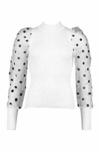Womens Polka Dot Organza Sleeve - white - One Size, White