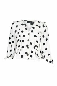 Womens Polkadot Button Down Ruffle Blouse - white - 12, White
