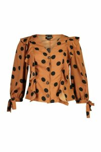 Womens Polkadot Button Down Ruffle Blouse - brown - 10, Brown
